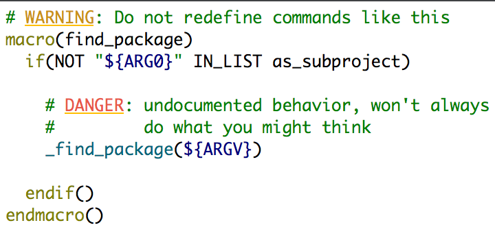 Do Not Redefine CMake Commands - Crascit